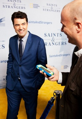 Saints & Strangers Red Carpet Premiere - Kevin Ott Interviewing Ron Livingston - photo credit Gerald Pierre 2015 for Rocking God's House