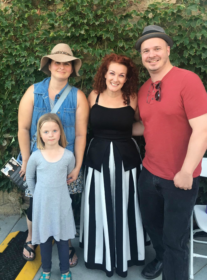 Christian artist Plumb with book reviewer Amy Ott and family at GraceFest, Palmdale, California - Sept 22, 2018